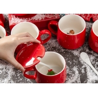 Cheap 350ml 13x9.5x9cm Glaze Christmas Ceramic Mugs for sale