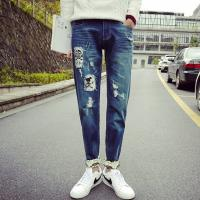 Quality Printed Flowers Womens Slim Straight Leg Jeans Middle Rise Stone Washed wholesale