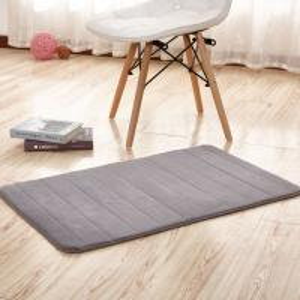 Thick Memory Foam Floor Mats, Bulky Fleece Fabric Grey Fast Drying Bath Mat