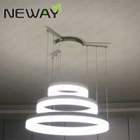 China Modern LED Ring Light Arcylic Circle LED Pendant Suspension Lights Hot 3 Rings Crystal Led Chandelier for High Ceiling on sale
