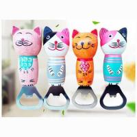 Cheap Best Seller Wood Handle Cat Fridge Magnet Bottle Opener for sale
