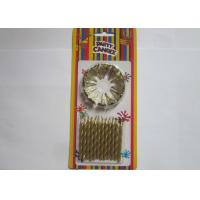 Cheap Non Toxic Spiral Gold Birthday Candles , Stick Birthday Cake Sparkler Candles for sale