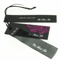 Cheap Clothes Hang Tags Labels With Ribbon String For Lady Coat / Dress 4x8.5cm 5x9cm for sale