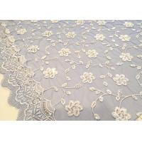 Cheap Embroidered White And Blue Sequin Floral Lace Fabric With Scalloped Edging for sale
