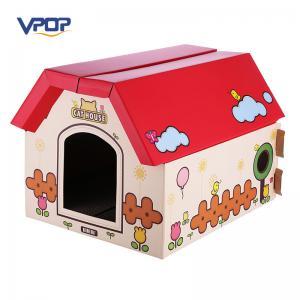 VPOP Red Cardboard Cat Scratcher , Folding Lightweight Cat Cardboard Playhouse