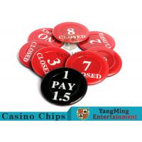 Cheap Red / Black  Anti - Fade Casino Game Accessories 40 Mm Plastic Insurance Code Set for sale