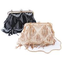 China Ready To Ship: Elegant Ladies Purses Pearl Jewellery Decorated Fabric Shoulder Bag Noble Women Party Design Evening Bags on sale