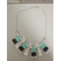 Cheap ABS and Alloy hand made necklace blue black and clear with gold chain for sale