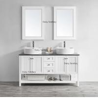 Cheap 60 Inch White Marble Top Bathroom Vanity Brass Or Stainless Steel Handles for sale