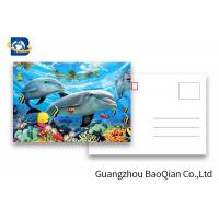 Cheap Durable Dolphin 3D Lenticular Postcards CMYK UV Offset Printing Cartoon Design for sale