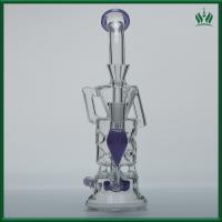 Cheap Purple Fluorescence Glass Water Bongs 10 Inches 14.4mm Female Joint With Showerhead for sale