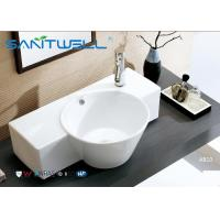 Cheap Round Counter Top Wash Basin / Ceramic Vanity Bowl Bathroom Water Absorption for sale