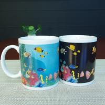 Cheap Blue Patch Ocean Custom Magic Mug With AB Grade White Ceramic for sale