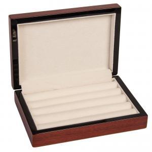 16 Pairs Cufflink Storage Box Cherry Wood Ring Jewelry Display Case