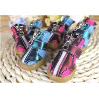 Cheap Custom made Zipper Winter small Pet Dog Shoes with PU Leather black for sale
