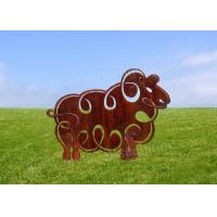 Cheap Cute Sheep Animal Corten Steel Sculpture As Garden Decoration OEM & ODM Custom for sale
