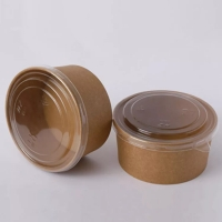 China PLA Paper PE Coating Kraft Paper Bowls For Soup And Salad on sale