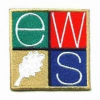 Cheap 100% Embroidered Patches, with Merrowed Border, Measures 8.5 x 8.5cm for sale