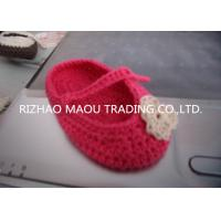 Cheap 6cm Red Crochet Baby Shoes Flower Decoration Handmade Knitted Baby Slippers for sale