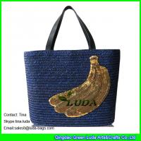 Cheap navy blue straw beach bag  banana wheat straw fashion  bags for sale