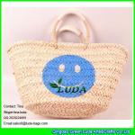 Cheap LUDA high quality lady shoper bag handmade smile face cornhusk straw shopping bag for sale