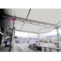 Cheap White Self-cleaning Tensile Membrane Structure For Airport Access , Membrane Covered Walkways wholesale
