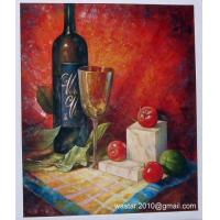 Cheap Still life oil painting-wine bottle, glass and fruits for sale