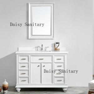 Cheap Luxury Style Bathroom Floor Vanities , White 48 Bathroom Vanity With Mirror for sale