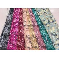 Cheap Gold Silver Sequin Fabric , Multi Colored Embroidered Floral Dress Lace Fabric For Gown for sale