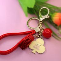 China metal mobile phone key chain with bead on sale