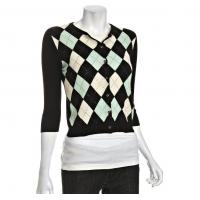China Black Argyle Cashmere Cardigan Womens Knitted Sweaters With Rhinestone on sale