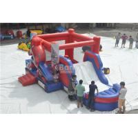 Cheap Spiderman Bouncy Castle , Round Inflatable Bouncer Combo With Slide for sale