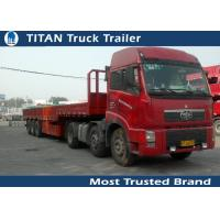 China 50 Tons tri - axle flatbed truck used semi trailer for container , hoses , cement bags on sale