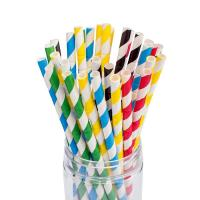 Cheap Water Resiatant Assorted Paper Straws Striped Color 0.25 Inches Outer Diameter for sale