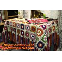 Cheap Handmade Crochet Yarn Baby Sheet Blankets Granny Square Afghan Coverlet Table Clothes for sale