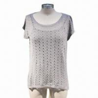 Cheap Ladies Knitted Pullover, Made of 69% Cotton and 31% Polyamide for sale