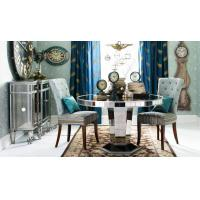 China 29 Inch Round Glass Kitchen Table , Mirror Round Glass Dining Table Wood Base on sale