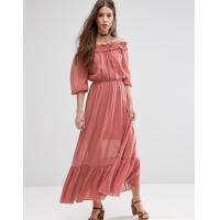 Cheap Off The Shoulder Strapless Chiffon Formal Maxi Dresses With Frill Tiers Midi Length for sale