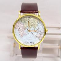 Cheap Retro Style Leather Band Quartz Watch , World Map Men Casual Wristwatch for sale