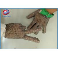 Cheap Textile Strap Safety Metal Gloves With Five Fingers , 304L Chainmail Gloves for sale