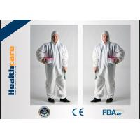 China Liquid Resistant Disposable Coveralls With Hood , Protective Coverall Suit Nonwoven on sale