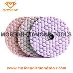 Cheap 4 Inch White Hexagon Velcro Flexible Dry Polishing Discs for Marble Granite for sale
