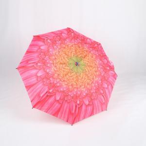 Custom Manual Open Umbrella , Pink Flower Print 3 Fold Umbrella For Women