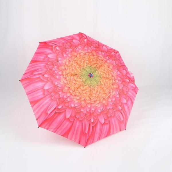 Quality Custom Manual Open Umbrella , Pink Flower Print 3 Fold Umbrella For Women wholesale