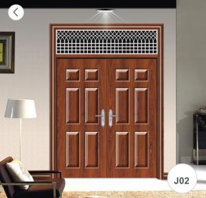 Cheap J02 Zinc Alloy Steel Twin Doors / Residential Steel Security Doors for sale