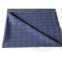 Cheap Medium Wool Plaid Fabric Navy Background And White Line , Window Pane Fabric for sale
