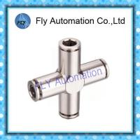 Cheap Four Way Nickel-Plated Copper Push  - In Pneumatic Brass Tube Fittings PZA Series for sale