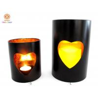 Cheap Small / large Stick Gold Foil inside pillar candle holder with heart hollow out for sale