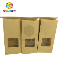 Cheap Clear Window Front Square Bottom Bleached Customized Paper Bags For Tea for sale