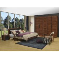 Cheap 2016 New Nordic Design Cow leather Headboard bed in Walnut wood Furniture and MDF panel Wardrobe in Wall cabinet for sale